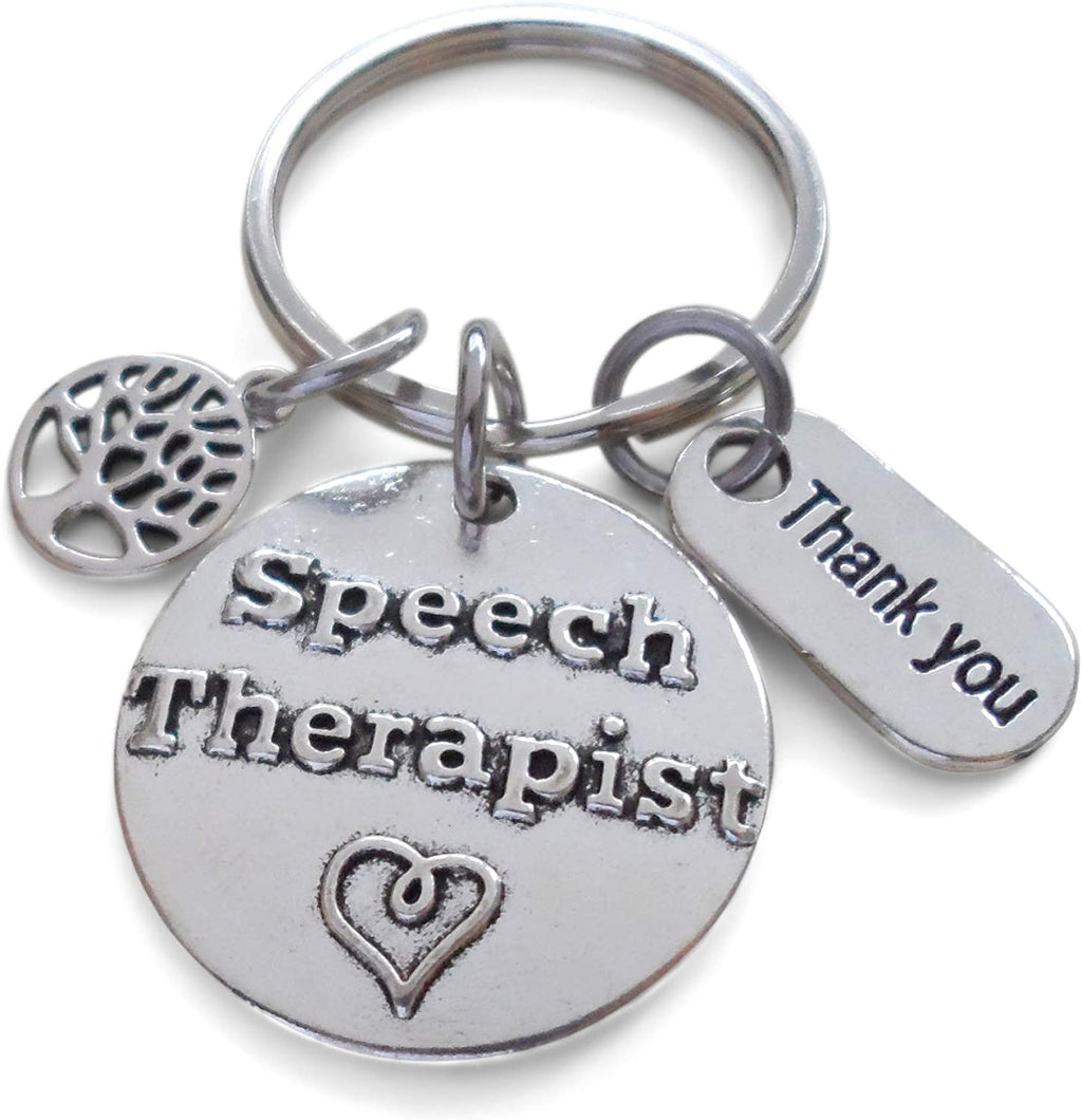"Speech Therapist Keychain with Small Tree, Speech Therapist Disc, and ""Thank You"" Tag w/ ""Thanks for helping me grow"" Card by JewelryEveryday"