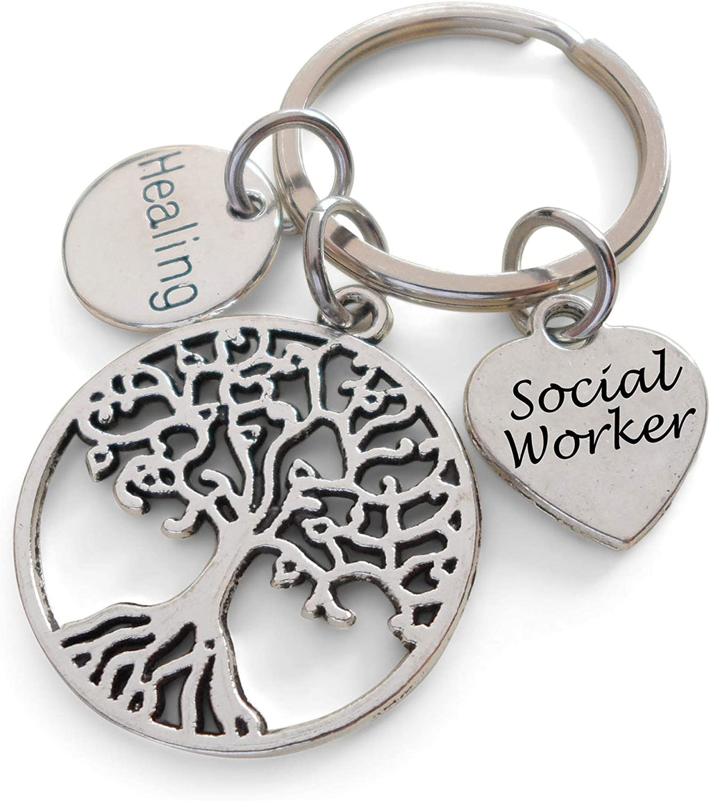 "Employee Appreciation Gifts • Tree Charm, ""Healing"" Circle Charm, and a ""Social Worker"" Heart Charm Keychain by JewelryEveryday"