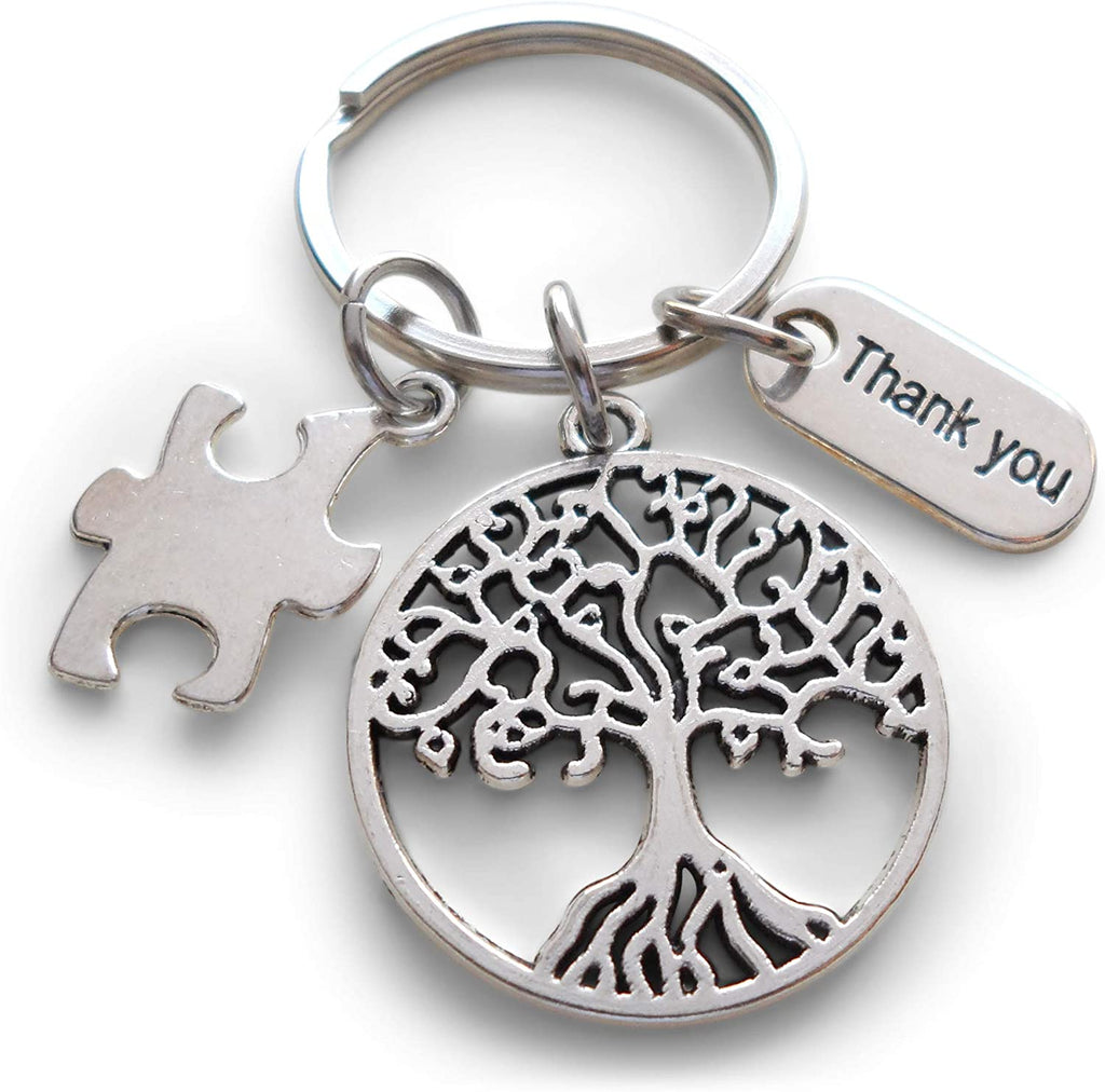 "Volunteer Appreciation Gifts • ""Thank You"" Tag & Puzzle Piece & Tree Charms by JewelryEveryday w/ ""You are an essential part of our community"" Card"