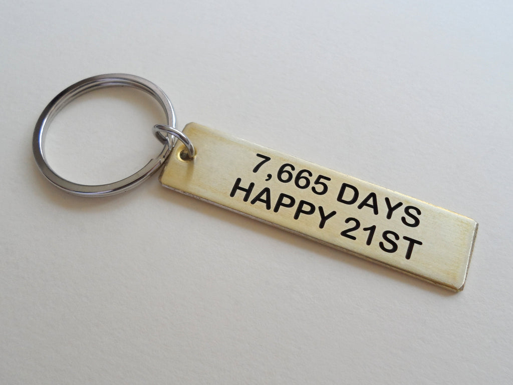 "Brass Tag Keychain Engraved with""7,665 Days, Happy 21st""; 21 Year Anniversary Couples Keychain"