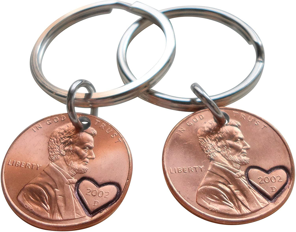 18 Year Anniversary Gift • Double Keychain Set 2002 Penny Keychains w/ Engraved Heart Around Year by Jewelry Everyday