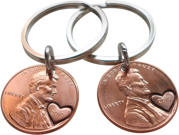 11 Year Anniversary Gift • Double Keychain Set 2010 Penny Keychains w/ Engraved Heart Around Year by Jewelry Everyday
