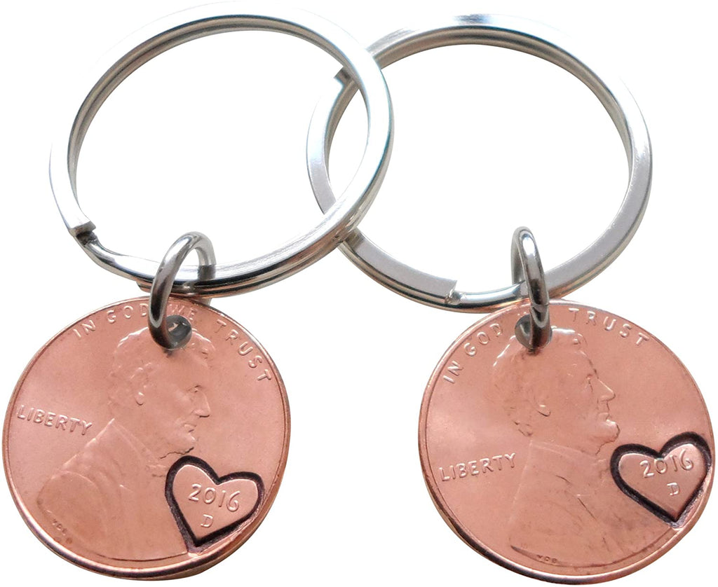 Double Keychain Set 2016 Penny Keychains with Engraved Heart Around Year; 4 Year Anniversary Gift, Couples Keychain