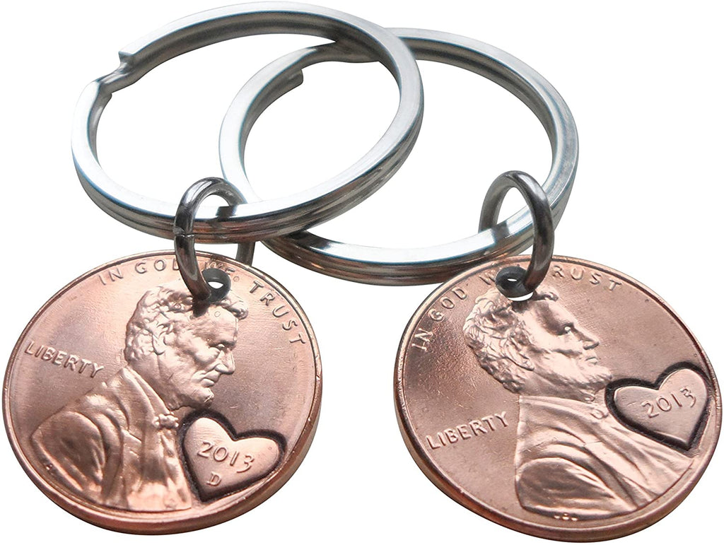 Double Keychain Set 2013 Penny Keychains with Engraved Heart Around Year; 8 Year Anniversary Gift, Couples Keychain