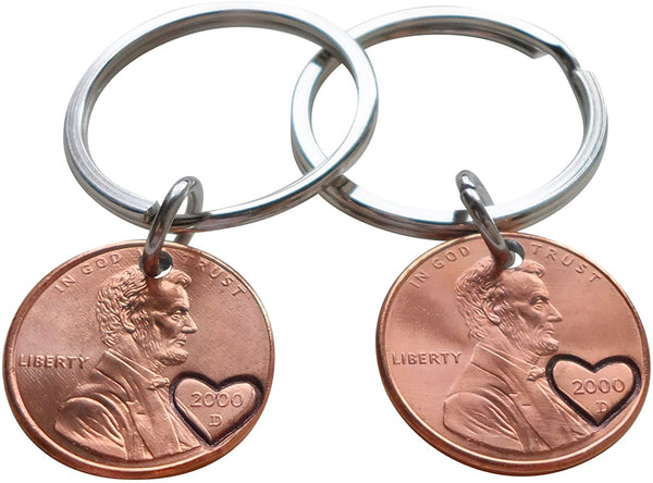 Double Keychain Set 2000 Penny Keychains with Engraved Heart Around Year; 21 Year Anniversary Gift, Couples Keychain