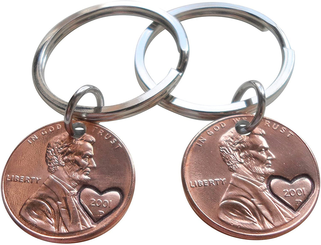 Double Keychain Set 2001 Penny Keychains with Engraved Heart Around Year; 19 Year Anniversary Gift, Couples Keychain