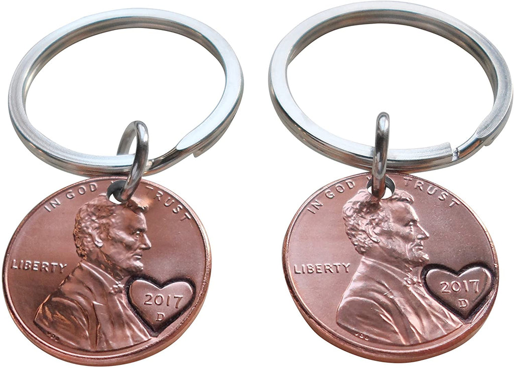 Double Keychain Set 2017 Penny Keychains with Heart Around Year - 3 Year Anniversary, Couples Keychain