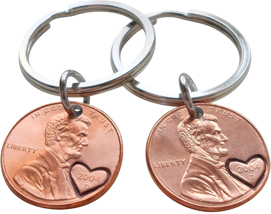 Double Keychain Set 2004 Penny Keychains with Engraved Heart Around Year; 16 Year Anniversary Gift, Couples Keychain
