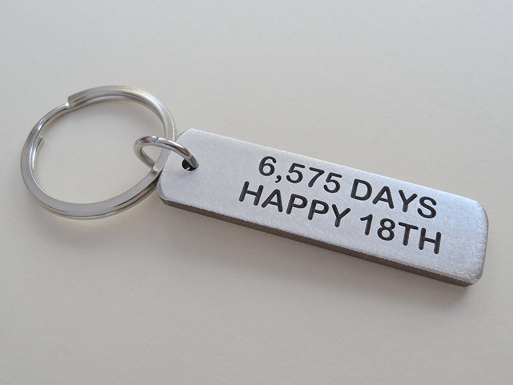 "Aluminum Tag Keychain Engraved with ""6,570 Days, Happy 18th""; Hand engraved 18 Year Anniversary Keychain"