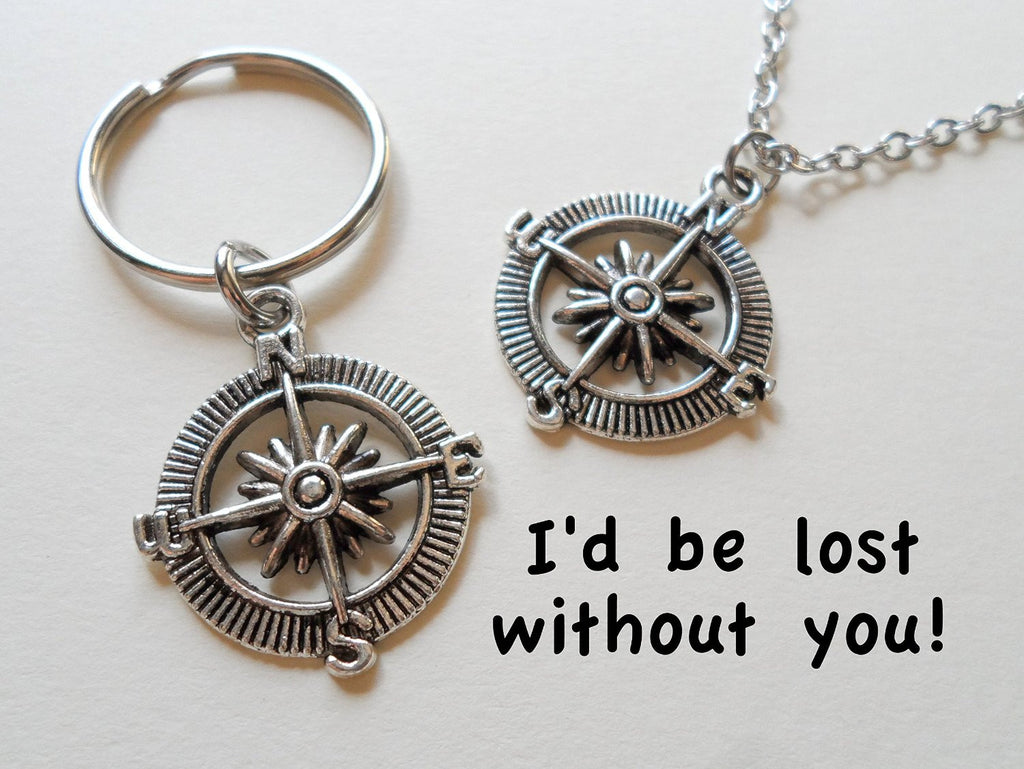 Open Metal Compass Necklace & Keychain Set