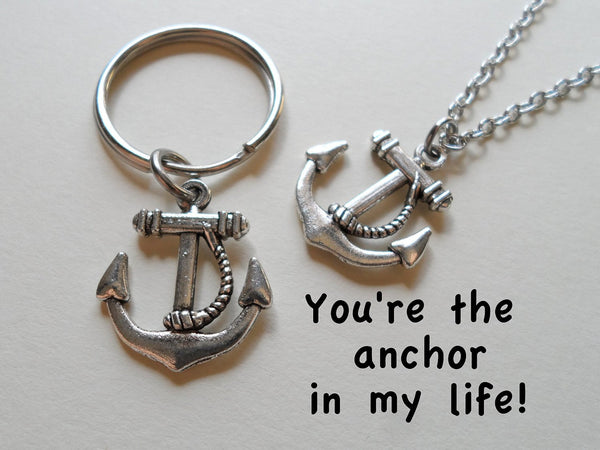 Anchor Necklace & Anchor Keychain Set
