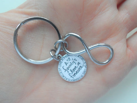 A Family's Love is Forever Saying Disc & Infinity Charm Keychain, Family Reunion or Family Gift