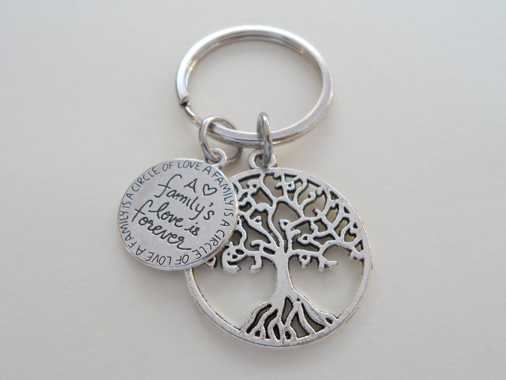 A Family's Love is Forever Saying Disc & Tree Keychain, Family Reunion or Family Gift