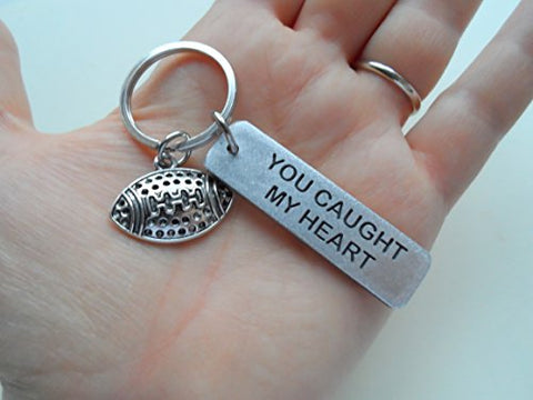"Aluminum Engraved Keychain Tag with Football Charm, Engraved with ""You Caught My Heart"""