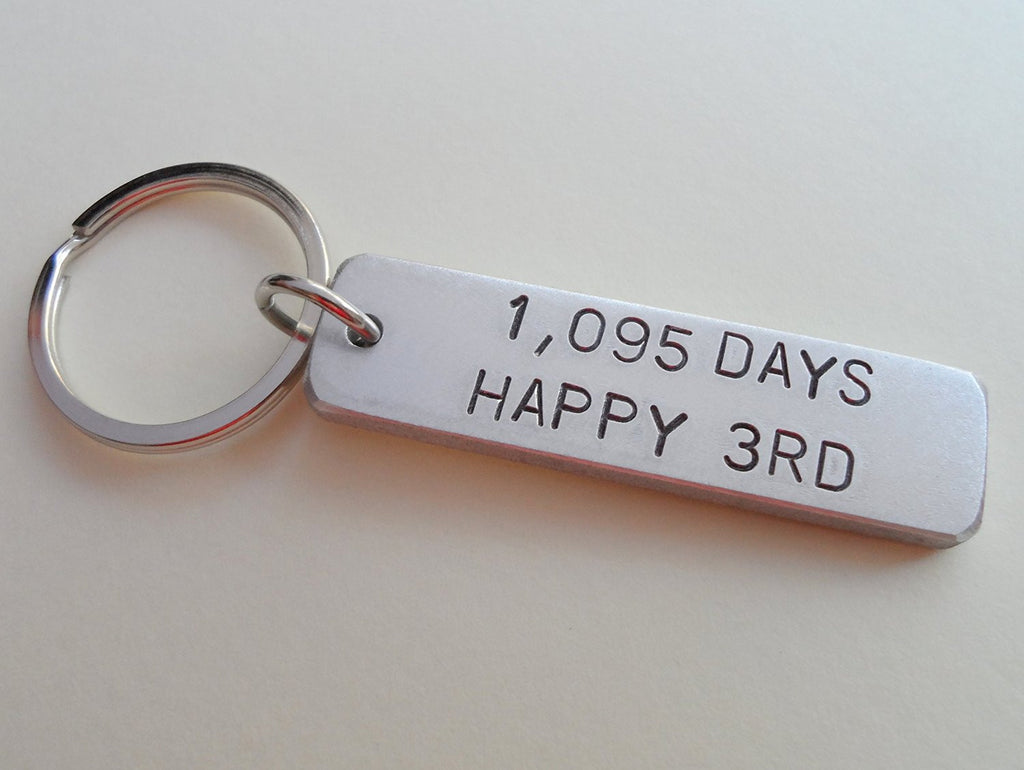 "3 Year Anniversary Gift • Aluminum Tag Keychain Hand Stamped w/ ""1,095 Days, Happy 3rd"" by Jewelry Everyday"