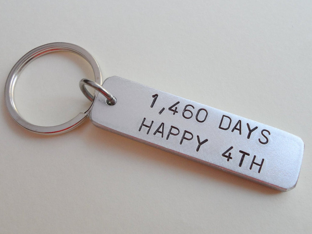 "Aluminum Tag Keychain Stamped with ""1,460 Days, Happy 4th""; Hand Stamped 4 Year Anniversary Couples Keychain"