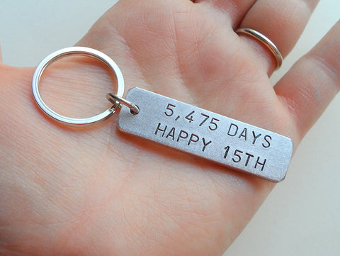 "Aluminum Tag Keychain Engraved with ""5,475 Days, Happy 15th""; Engraved 15 Year Anniversary Keychain"
