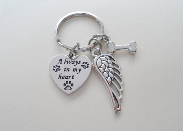 Dog Memorial Keychain • Always in My Heart Keychain with Bone Charm and Wing Charm | JE