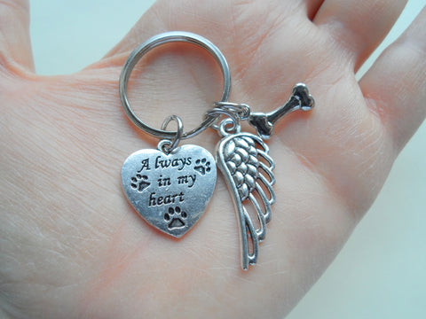 Custom Dog Memorial Keychain • Always in My Heart Keychain with Bone Charm and Wing Charm | JE