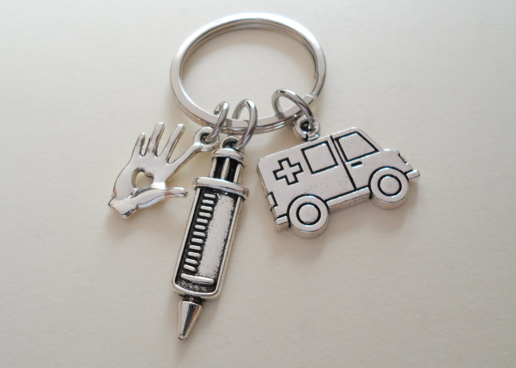 Employee Appreciation Gifts • Ambulance, Hand with Heart & Syringe Keychain by JewelryEveryday