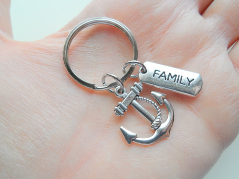 Anchor & Family Charm Keychain, Family Gift, Family Reunion Gift