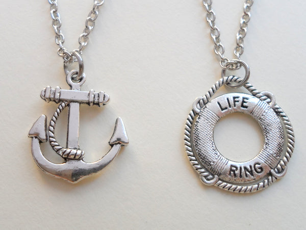Anchor & Lifesaver Ring Necklace Set -You Be My Anchor I'll Keep You Afloat