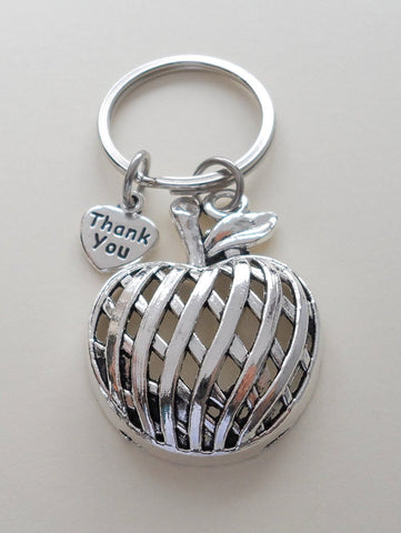 Apple Charm Teacher Keychain - Thanks for Being Such a Great Teacher
