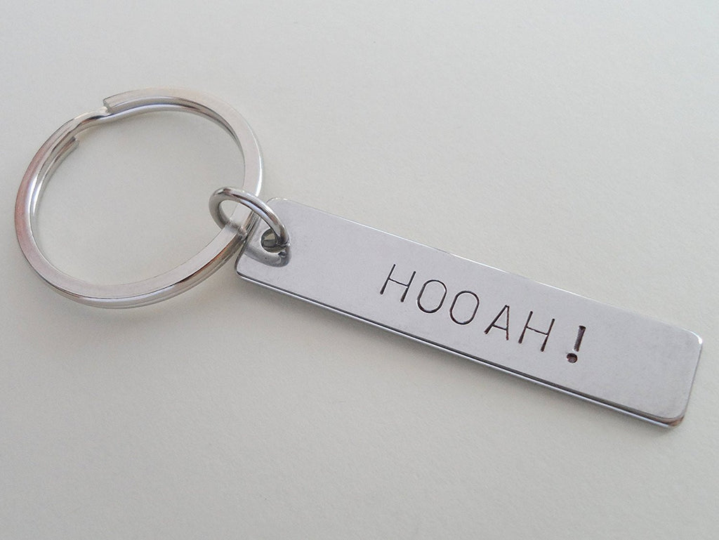 "Army Keychain, ""Hooah"" Hand Stamped on Stainless Steel Keychain Tag"