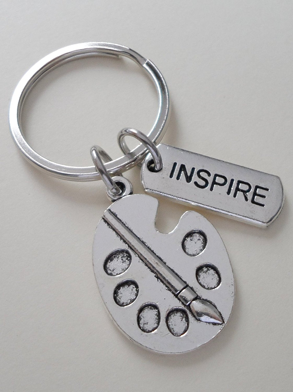 "Art Palette Charm Keychain with ""Inspire"" Tag Charm"