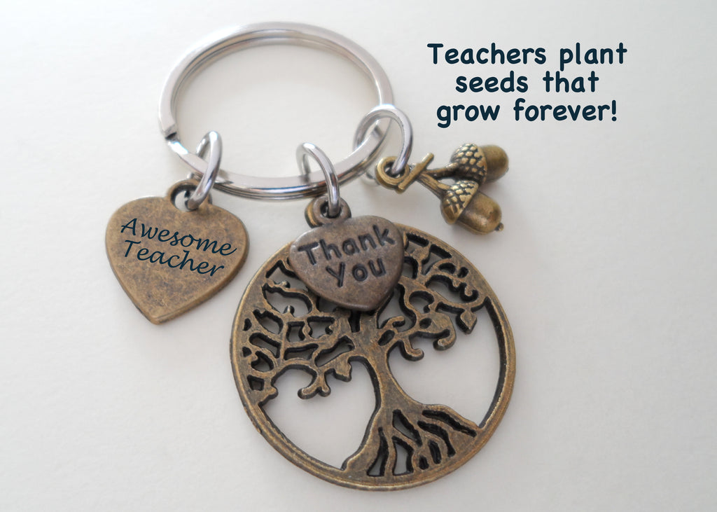 "Teacher Appreciation Gifts • ""Awesome Teacher"" Heart Tag, Bronze Tree, Seeds & ""Thank You"" Heart Charms Keychain by JewelryEveryday w/ ""Teachers plant seeds that grow forever"" Card"