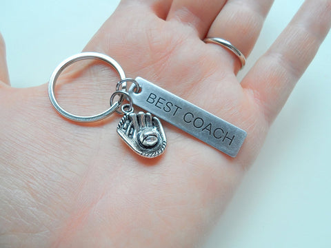 "Baseball Coach Appreciation Gift • Engraved ""Best Coach"" Keychain 