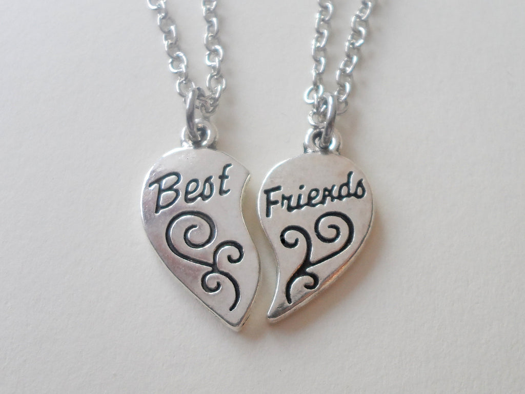 Best Friend Necklace Set, Connecting Heart Charms