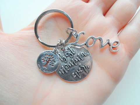 "Best Momma Ever Keychain with Love charm, Tree Charm with words""My Family My Love"""