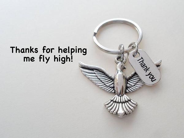 Bird Keychain Appreciation Gift - Thanks for Helping Me Fly High