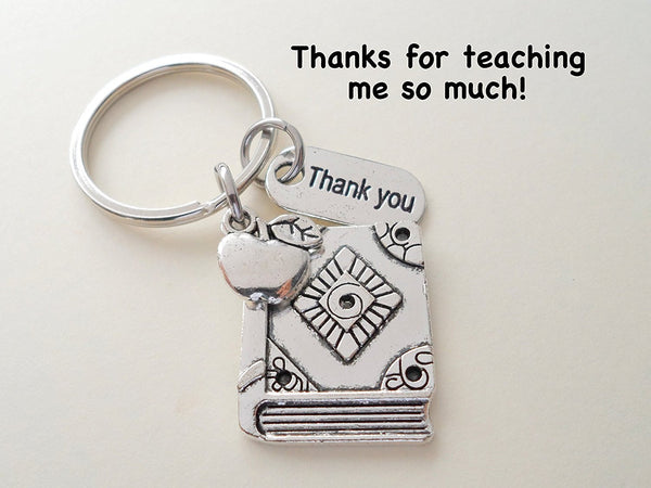 "Teacher Appreciation Gifts • ""Thank You"" Tag, Book Charm, & Apple Charm Keychain by JewelryEveryday w/ ""Thanks for teaching me so much!"" Card"