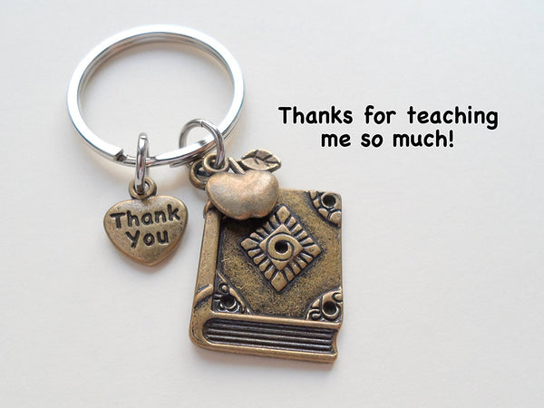 "Teacher Appreciation Gifts • ""Thank You"" Tag, Bronze Book Charm, & Apple Charm Keychain by JewelryEveryday w/ ""Thanks for teaching me so much!"" Card"