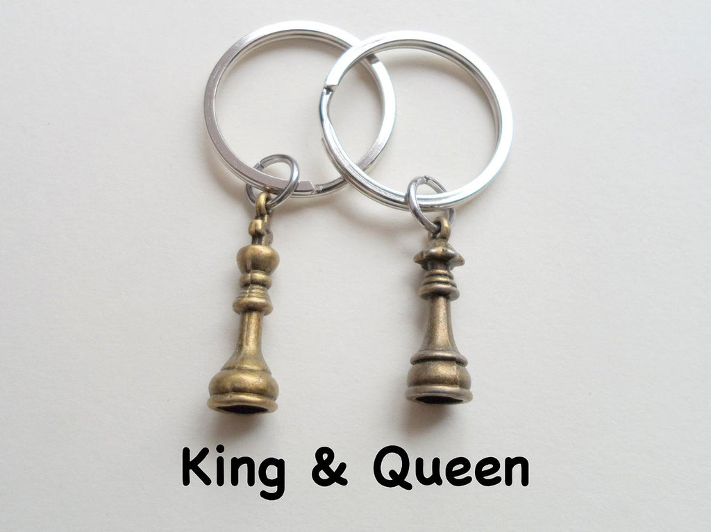 Bronze Chess Piece Charm Keychains King And Queen Set Couples Keych Jewelryeveryday