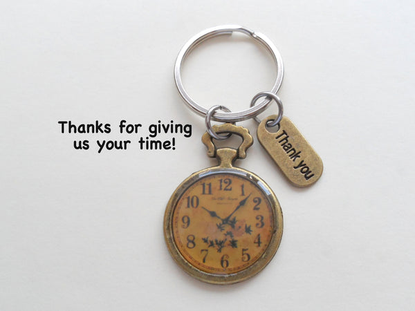 Bronze Clock Keychain, Volunteer Appreciation Gift - Thanks For Giving Us Your Time