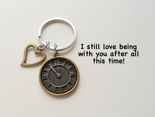 Bronze Clock Keychain With Heart Charm - I Still Love Being With You After All This Time; Couples Keychain
