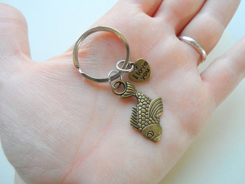 "Bronze Fish Keychain, Fish Charm with ""I Love You"" Heart Charm - You Are A Great Catch; Couples Keychain"