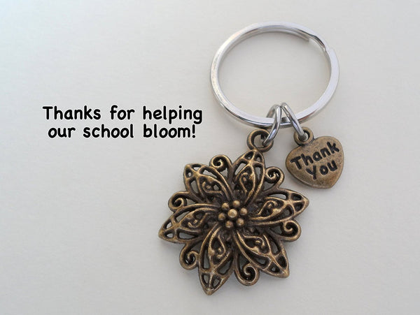 "Teacher Appreciation Gifts • ""Thank You"" Tag & Bronze Flower Charm Keychain by JewelryEveryday w/ ""Thanks for helping our school bloom!"" Card"
