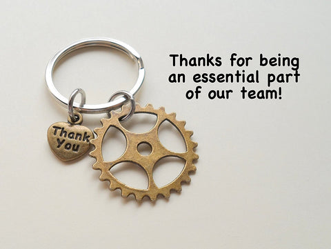 Bronze Gear Keychain Appreciation Gift - Thanks for Being an Essential Part of Our Team