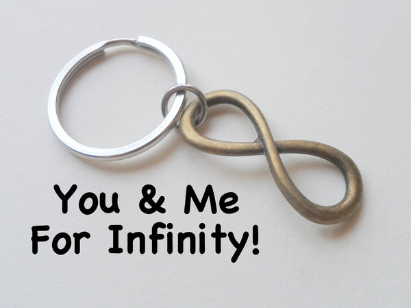 Bronze Infinity Symbol Keychain - You and Me for Infinity; Couples Keychain