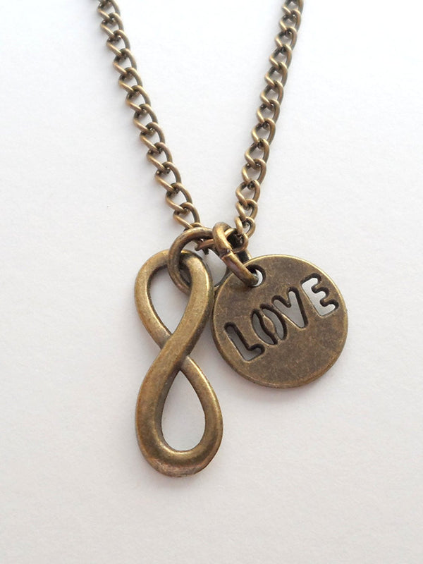 Bronze Infinity and Love Charm Necklace