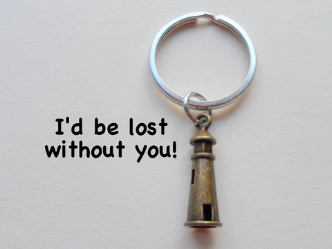 Bronze Lighthouse Keychain - I'd Be Lost Without You; Couples Keychain