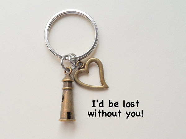 Bronze Lighthouse Keychain With Heart Charm- I'd Be Lost Without You; Couples Keychain
