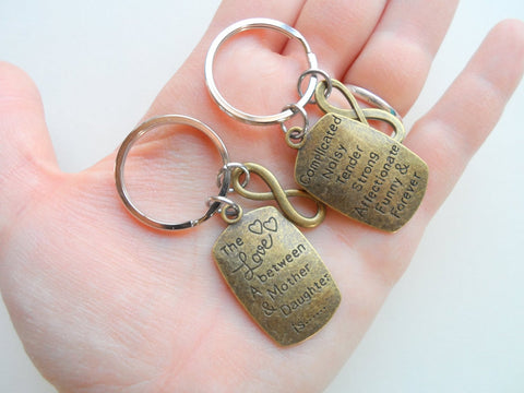 Bronze Mother and Daughter Saying Keychain Set, Love Between Is Forever, With Infinity Charm