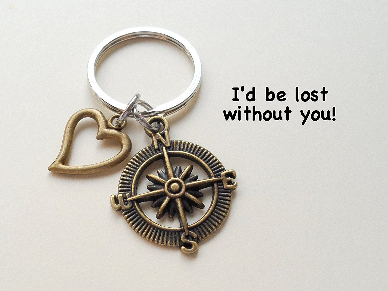 I/'d Be Lost Without You 8 Year Anniversary Bronze Open Metal Compass Keychain