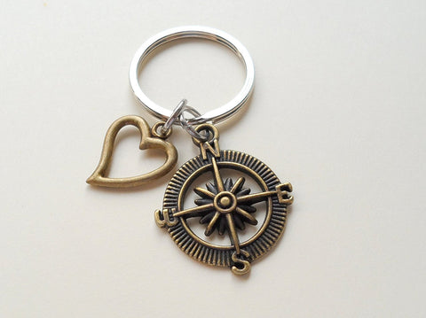 Bronze Open Metal Compass Keychain with Heart Charm - I'd Be Lost Without You