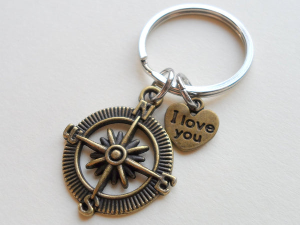 "Bronze Open Metal Compass Keychain with ""I Love You"" Heart Charm- I'd Be Lost Without You; 8 Year Anniversary Gift, Couples Keychain"